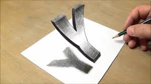 how to draw floating letter y drawing 3d trick art with pencil marker vamosart