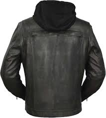 first mfg mens vendetta hooded leather motorcycle jacket