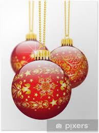 Poster Christbaumschmuck Weihnachtskugel Dekoration Textur Rot 3d