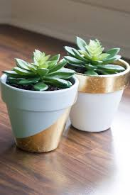 diy painted gold leaf succulent pots