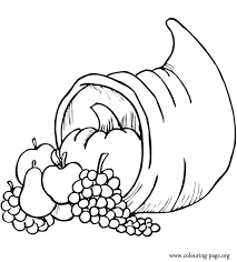Promote the harvest vegetables and fruits, the food pyramid and healthy choices during thanksgiving. Thanksgiving Cornucopia With Many Fruits Coloring Page Thanksgiving Coloring Pages Fruit Coloring Pages Thanksgiving Coloring Sheets