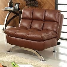 furniture of america aristo saddle brown faux leather futon