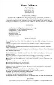 Maintenance Supervisor Resume Sample Fascinating 48 Facility Lead Maintenance Resume Templates Try Them Now