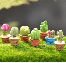 cute 7 designs cactus flower pot fairy garden miniatures crafts terrarium gnomes bonsai dollhouse craft for diy home decoration accessories silly
