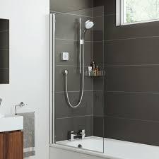 mira square edge bath shower screen hinged 5mm easy clean glass 800mm 1 1863 064