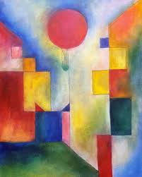 saatchi art city with red balloon tribute to paul klee painting by thia path