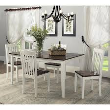 dining room table set. Shiloh 5-Piece Creamy White / Rustic Mahogany Dining Set Room Table