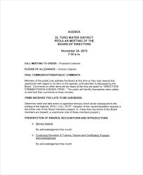 12 Board Of Directors Meeting Agenda Templates Free Sample