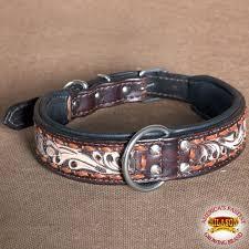 hilason heavy duty genuine leather dog collar fl carving dark brown zoom
