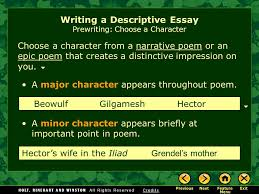 writing workshop writing a descriptive essay assignment prewriting  3 choose