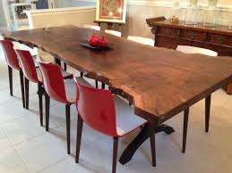 custom made walnut live edge slab dining table