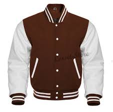 Brown And White Letterman Jacket In Wool And Genuine Leather Sleeves S 5xl Ebay