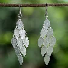 sterling silver chandelier earrings shimmering ash leaves handcrafted thai sterling silver leaves