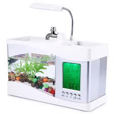 usb desktop electronic aquarium mini fish tank lamp with water running led pump light calendar alarm office desk aquarium