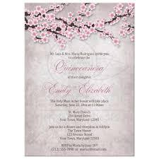 Invitation Quincenera Quinceañera Invitations Rustic Pink Cherry Blossom
