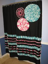 items similar to shower curtain custom made fabric ruffles flowers aqua teal turquoise hot pink black white stripes dots damask chevron chevron on