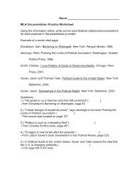 Mla Documentation Practice Worksheet