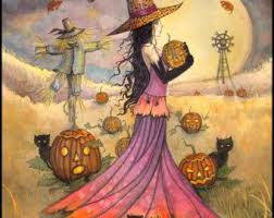 October Moon Fantasy <b>Art</b> Original Witch Cat by MollyHarrisonArt ...
