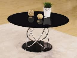 trias glass coffee table round in black