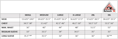 Bulwark Fr Coverall Sizing Chart Bulwark Sizing Information Mens Fr Work Shirts