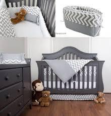 7 piece 100 cotton chevron zig zag baby boy bedding sets in gray and white