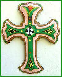 cross wall art hand painted metal cross wall hanging 18