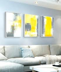 yellow and gray wall art 3 piece canvas painting abstract oil handmade bright grey white