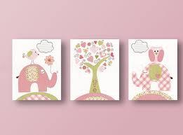 Owl Bedroom Decor Kids Baby Girl Nursery Decor Art Prints Elephant Home Daccor Nursery