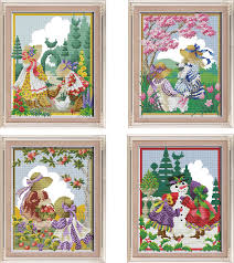 Us 6 52 43 Off Joy Sunday Four Seasons Girls Cross Stitch Pattern Kits Handcraft Make Embroidery With Chart In Package From Home Garden On