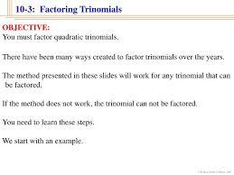 10 3 factoring trinomials