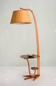 Still Life Of Retro Floor Lamp With Hanging Shade And Integrated