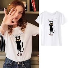 <b>Showtly Cute cat</b> print women's t shirt Hipster casual cotton super ...