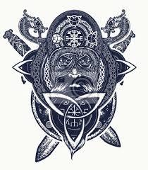 Obraz Vikingský Bojovník Na Tričko Keltské Amulet Síly Tetování Kmenové