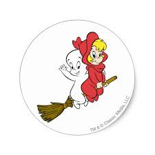 casper and wendy. casper and wendy riding broom classic round sticker