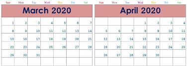 Blank March April 2020 Calendar Printable Template