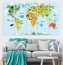 kids world map nursery room blue decor