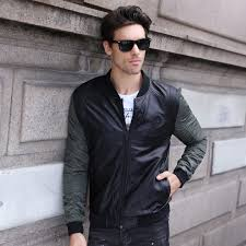 gusto 2018 leather patchwork er jacket men fashion slim fit mens jackets leather coats army green