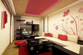 interior: Colorful Drop Ceiling Closed Downlight Plus LED TV Near Storage  Facing Square Table Side