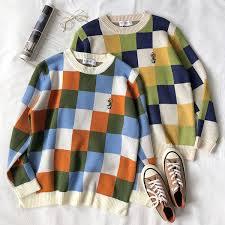 2019 <b>Mooirue Vintage Women</b> Knitted Sweater <b>Plaid</b> Floret Flower ...