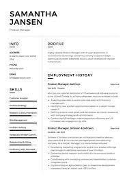 Product Manager Sample Example Cv Formal Design Examples
