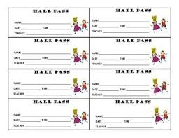 Student Hall Pass Student Passes Set Of Hall Pass Notes For Students Hall