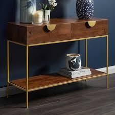 priya 2 drawer mango wood console table