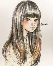 ユリカ A Twitter 女の子ヘアスタイルイラスト ロング 黒髪