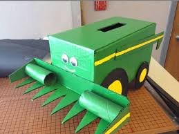 Boy Valentine Box Decorating Ideas John Deere Tractor With Trailer Valentines Day Card Box Holiday 59