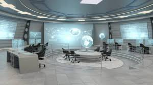 interior of office. Futuristic Interior View Of Office With Holographic Screen, Technology  Concept. 3D Rendering Stock Photo