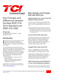 Harmonic Distortion Changes To Ieee 519 Standard Technical Paper In Pdf Trans Coil