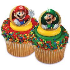 24 Super Mario Luigi Cupcake Cake Rings Birthday Party Favors