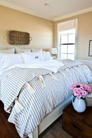 small size of french style farmhouse bedroom with ticking stripe duvet basket on wall for decoration