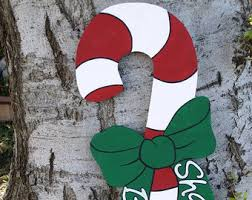 Candy Cane Yard Decorations Candy cane wood sign Etsy 62