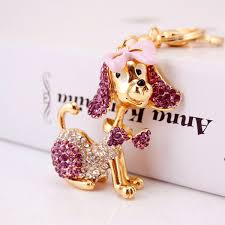 Poodle Dog <b>Bowknot Crystal Keychains Keyrings</b> For Car Women ...